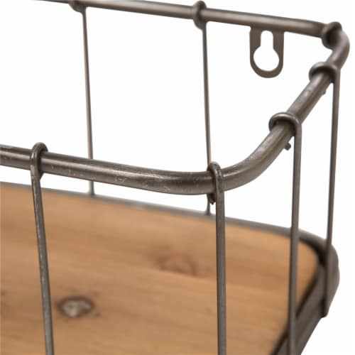 Glitzhome Rustic Wooden & Metal Wall Shelves Pair Perspective: right