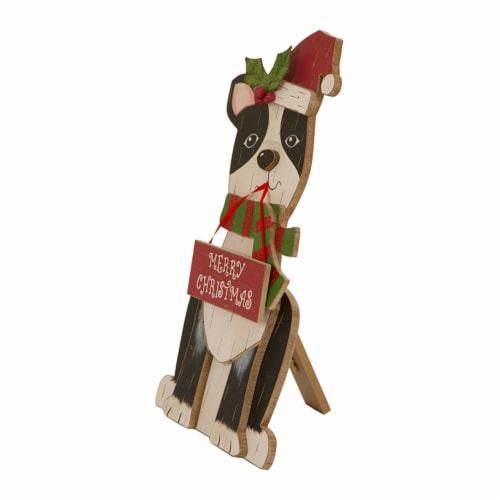 Glitzhome Wooden Dog Figurine Christmas Decor - Black/Red Perspective: right