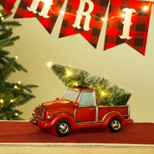 Glitzhome Rusty Truck Table Decor with Warm White LED Lights Perspective: right