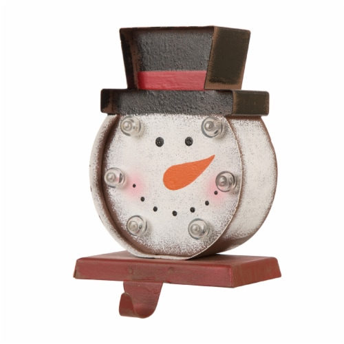 Glitzhome Marquee LED Snowman Head Christmas Stocking Holder Perspective: right