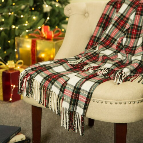 Glitzhome Acrylic Plaid Woven Tassel Throw Blanket - Red/White Perspective: right