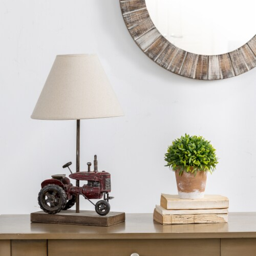 Glitzhome Polyresin Industrial Farmhouse Truck Table Lamp Perspective: right