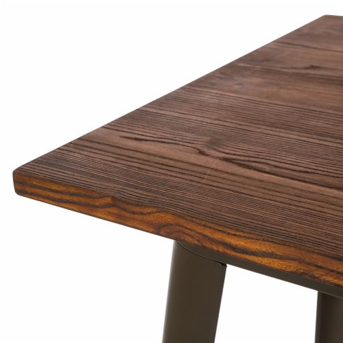 Glitzhome Rustic Steel Bar Table with Elm Wood Top - Coffee Perspective: right