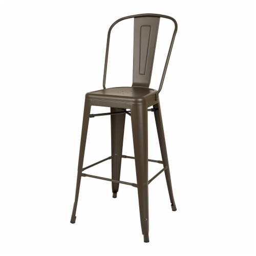 Glitzhome Rustic Steel Backrest Bar Stools with High Back - Set of 2 - Coffee Perspective: right