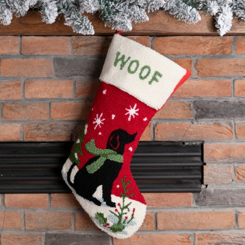 Glitzhome Dog Hooked Christmas Stocking Perspective: right