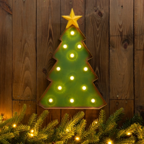 Glitzhome Metal Christmas Tree Marquee Decor Perspective: right