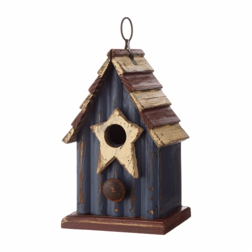 Glitzhome Wooden and Metal Rustic Patriotic Style Outdoor Garden Birdhouse Perspective: right