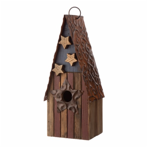 Glitzhome Wood and Metal Rustic Bird House Perspective: right