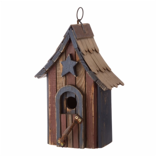 Glitzhome Hanging Distressed Solid Wood Birdhouse Perspective: right