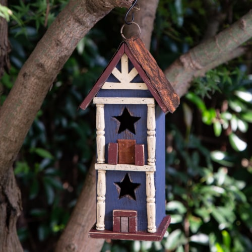 Glitzhome Solid Wood & Metal Rustic Style Birdhouse Perspective: right