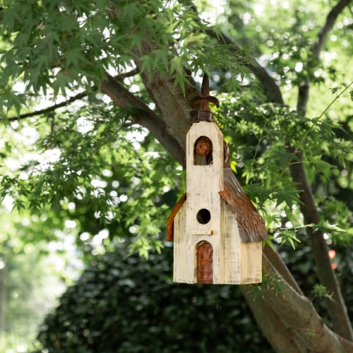 Glitzhome Hanging Distressed Wooden Decorative Rustic Birdhouse Perspective: right