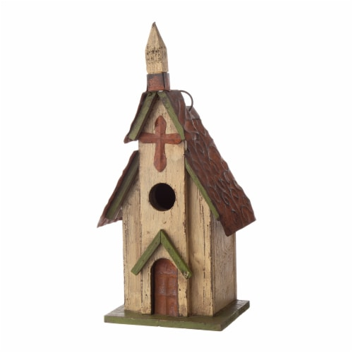 Glitzhome Distressed Solid Wood & Metal Church Birdhouse Perspective: right