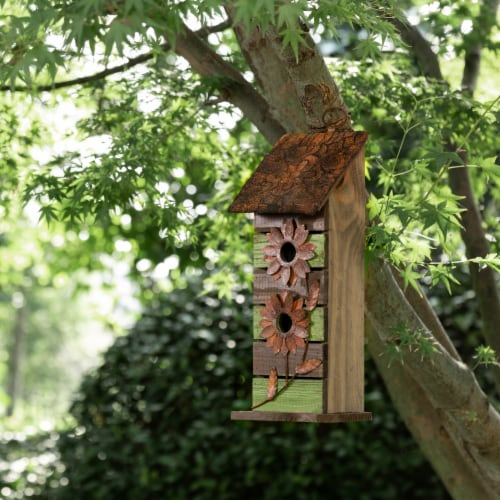 Glitzhome Hanging Two-Tiered Distressed Wooden Birdhouse Perspective: right