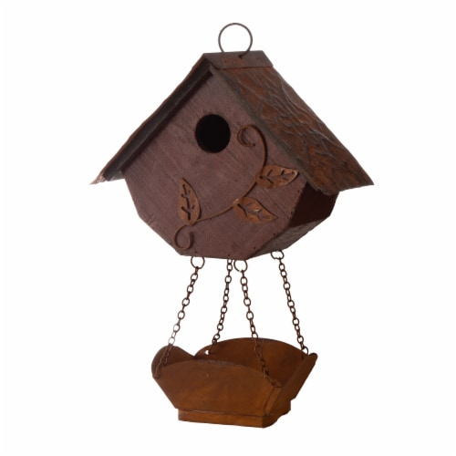 Glitzhome Hanging Distressed Solid Wood Birdhouse with Bird Bath Perspective: right