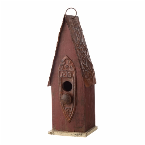 Glitzhome Hanging Distressed Wood Bird House Perspective: right