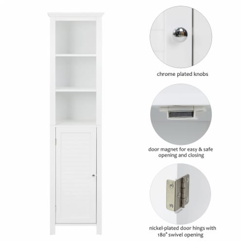 Glitzhome Wooden Storage Cabinet - White Perspective: right