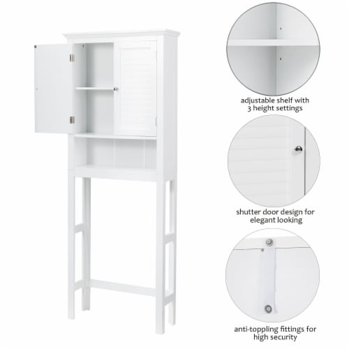 Glitzhome Wooden Drop Door Bathroom Cabinet Space Saver - White Perspective: right