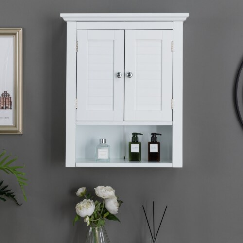 Glitzhome Wooden Wall Cabinet with Double Doors - White Perspective: right