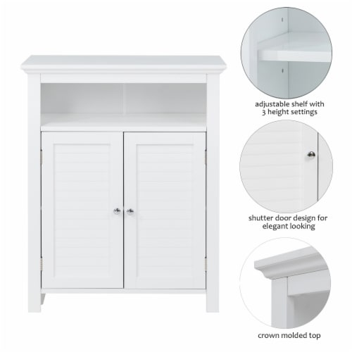 Glitzhome Shelved Floor Cabinet with Double Shutter-Door - White Perspective: right