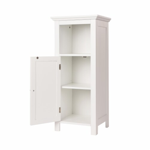 Glitzhome Wooden Floor Cabinet with Shutter Door - White Perspective: right