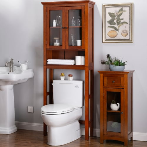 Glitzhome Drop Door Bathroom Spacesaver - Mahogany Brown Perspective: right