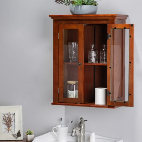 Glitzhome Wooden Wall Cabinet with Double Doors - Russet Perspective: right