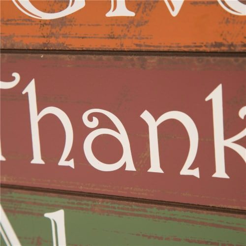 Glitzhome Wooden Give Thanks Always Three Block Set Perspective: right