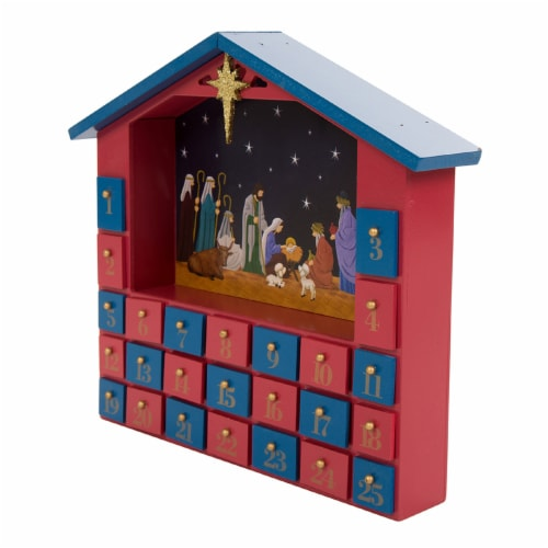 Glitzhome Wooden House Nativity Advent Calendar - Red/Blue Perspective: right