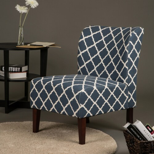 Glitzhome Lattice Upholstered Accent Chair with Sturdy Hardwood Frame - Indigo Perspective: right
