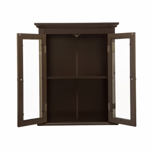 Glitzhome Wooden Wall Cabinet with Double Doors - Espresso Perspective: right