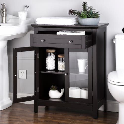 Glitzhome Shelved Floor Cabinet with Double Doors - Espresso Perspective: right