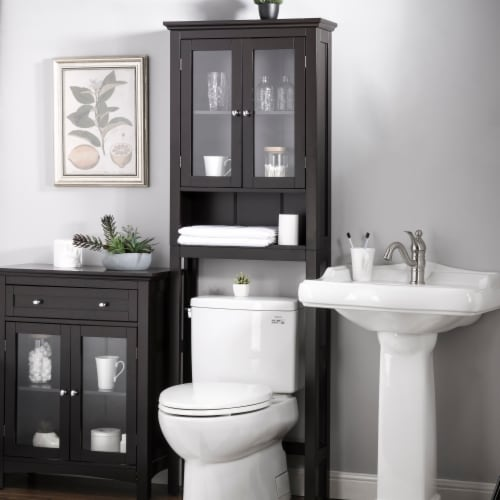 Glitzhome Wooden Drop Door Bathroom Cabinet Spacesaver - Espresso Perspective: right