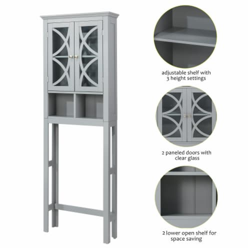 Glitzhome Wooden Drop Door Bathroom Cabinet - Gray Perspective: right