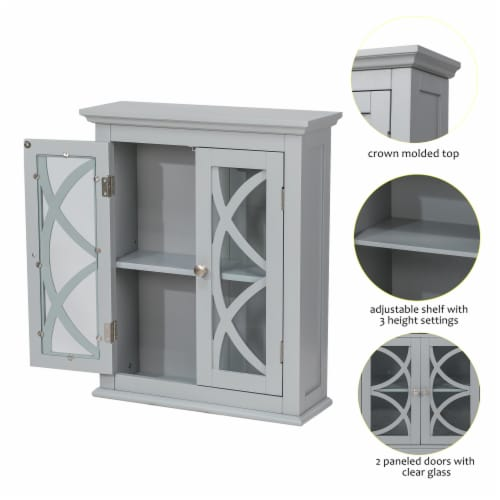 Glitzhome Wooden Wall Cabinet with Double Doors - Gray Perspective: right