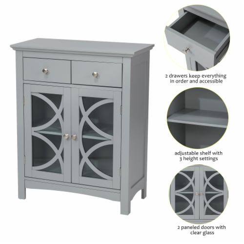 Glitzhome Floor Cabinet with Double Doors and Drawer - Gray Perspective: right