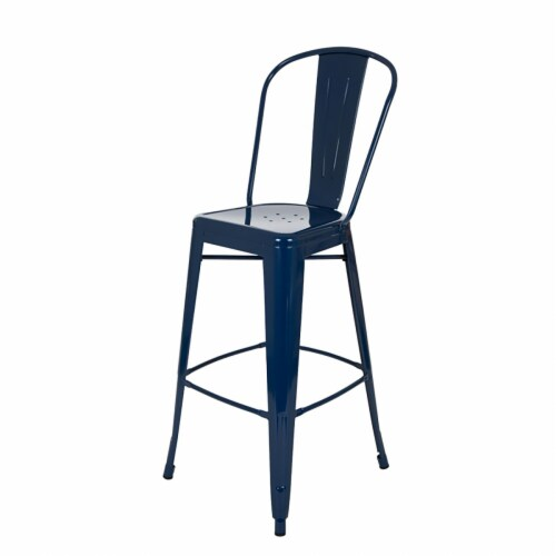 Glitzhome Industrial Style Metal Bar Stools - Set of 2 - Navy Blue Perspective: right