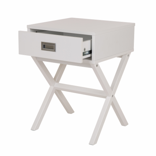 Glitzhome Modern Wooden X-Leg End Table - White Perspective: right