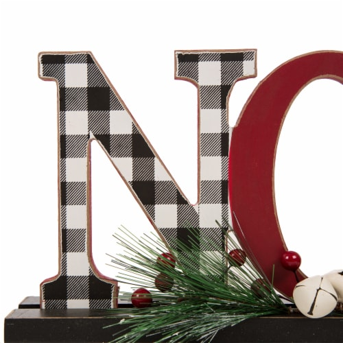 Glitzhome Wooden Plaid Noel Table Decor Features with Red Berries Perspective: right