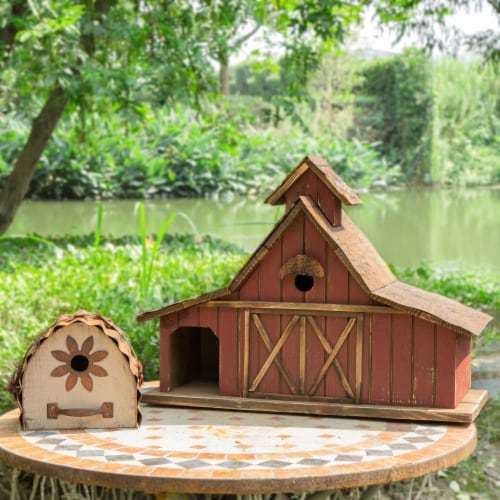 Glitzhome Extra-Large Rustic Wood Barn Birdhouse Perspective: right