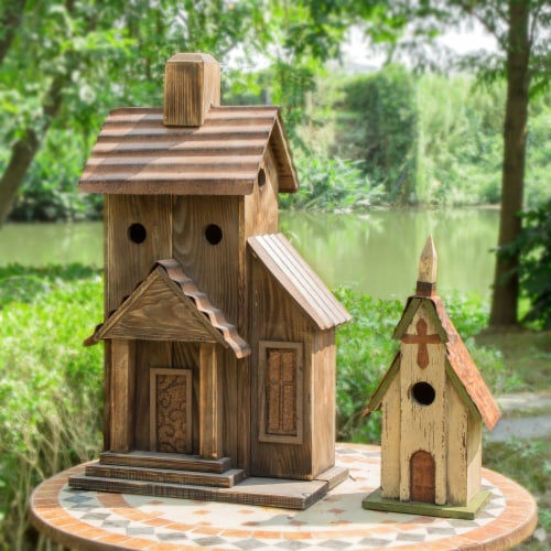 Glitzhome Extra-Large Rustic Natural Wood & Metal Birdhouse Perspective: right
