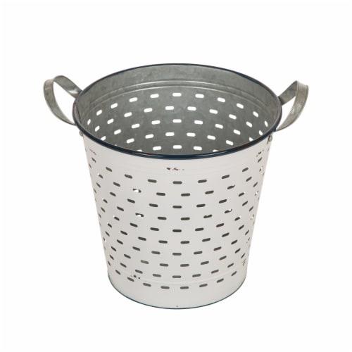 Glitzhome Farmhouse Enamel Metal Slotted Decorative Basket Planters - White Perspective: right
