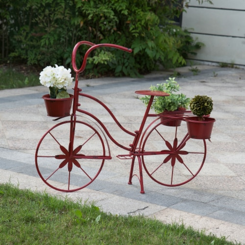 Glitzhome Metal Red Bicycle Shape Planter Perspective: right