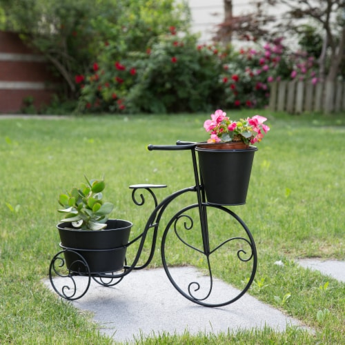Glitzhome Metal Bicycle Shape Planter - Black Perspective: right