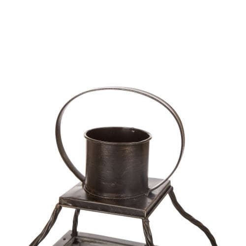 Glitzhome Oversized Natural Farmhouse Wood/Metal Lanterns - Grey Perspective: right