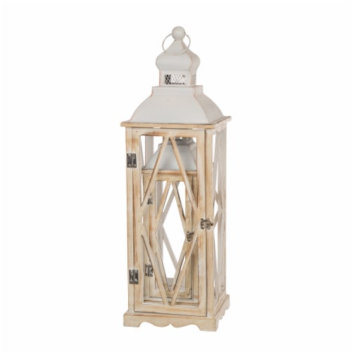 Glitzhome Farmhouse Whitewash Wood Lanterns with Metal Lids Perspective: right