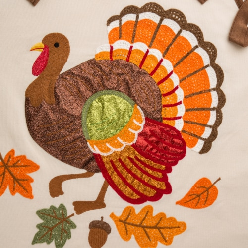 Glitzhome Cotton Embroidered Turkey Apron Perspective: right
