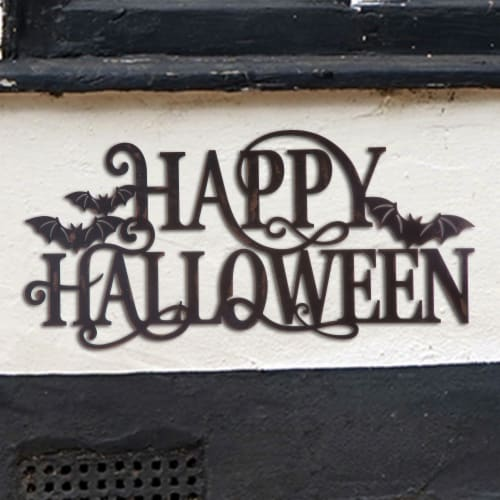Glitzhome Metal Happy Halloween Wall Sign Perspective: right
