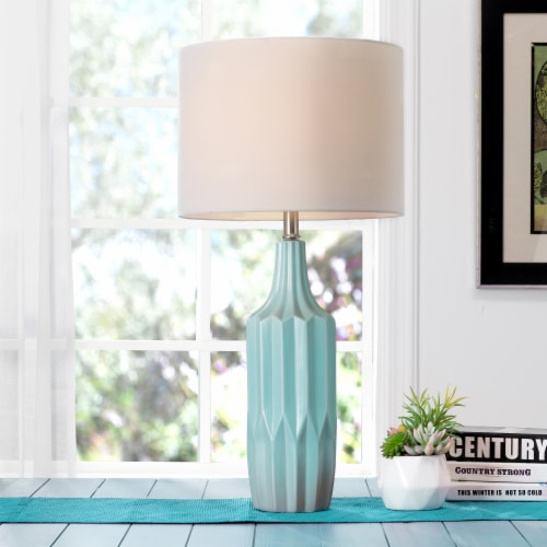 Glitzhome Matte Ceramic Table Lamp with Shade - Mint/White Perspective: right