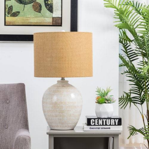 Glitzhome Nordic Minimalist Cream Ceramic Table Lamp with Burlap Shade Perspective: right