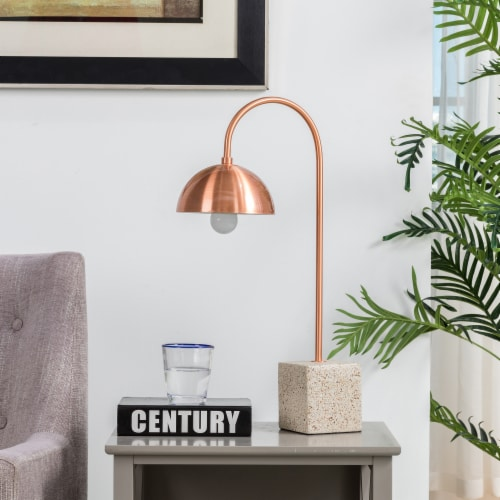Glitzhome Farmhouse Metal and Terrazzo Table Lamp with Copper Shade Perspective: right